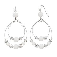 White Bead Nickel Free Hoop Drop Earrings