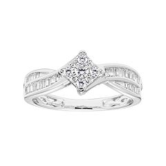 Lovemark 10k White Gold 1/2 Carat T.W. Diamond Cluster Bypass Ring