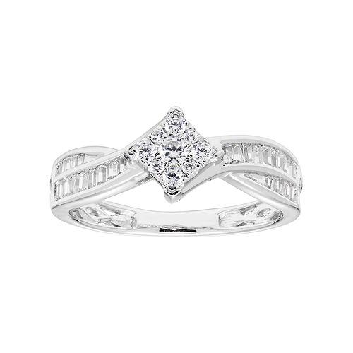 Lovemark 10k White Gold 1/2 Carat T.W. Diamond Cluster Bypass Ring
