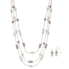 Rose Gold Tone Simulated Pearl Multi Strand Necklace & Drop Earring Set