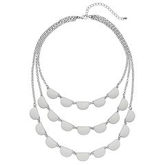 White Multi Strand Statement Necklace