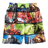 Boys 4-7 Marvel Avengers Infinity Wars Grid Swim Trunks