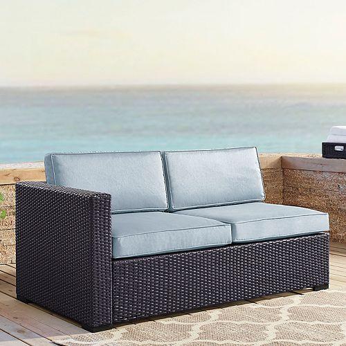 - Crosley Furniture Biscayne Patio Wicker One Arm Loveseat