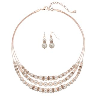 Rose Gold Tone Simulated Pearl Multi Strand Statement Necklace & Drop Earring Set