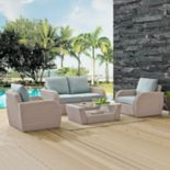 Crosley Furniture St. Augustine Patio Wicker Loveseat, Chair & Coffee Table 4-piece Set