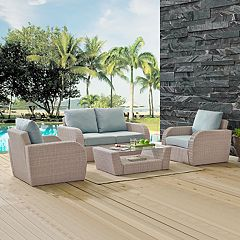 Crosley Furniture St. Augustine Patio Wicker Loveseat, Chair & Coffee Table 4 pc Set