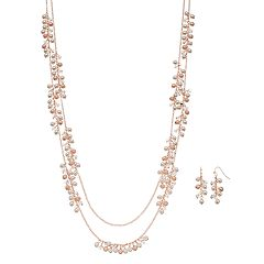 Rose Gold Tone Simulated Pearl Double Strand Necklace & Drop Earring Set