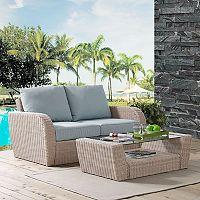 Crosley Furniture St. Augustine Patio Wicker Loveseat & Coffee Table 2-piece Set
