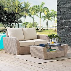 Crosley Furniture St. Augustine Patio Wicker Loveseat & Coffee Table 2-piece Set