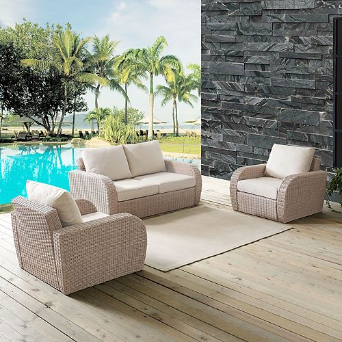Crosley Furniture St. Augustine Patio Wicker Loveseat & Chair 3-piece Set