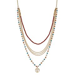 Believe In Beaded Tree of Life Pendant Multi Strand Necklace