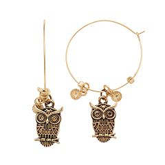 Believe In Owl Nickel Free Hoop Drop Earrings