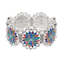Multicolor Medallion Silver Tone Nickel Free Stretch Bracelet