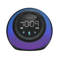 iHome App-Enhanced Bluetooth Color-Changing Dual Alarm Clock Radio