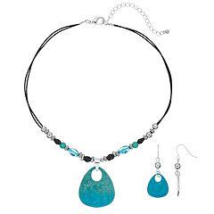 Teal Teardrop & Bead Necklace & Drop Earring Set