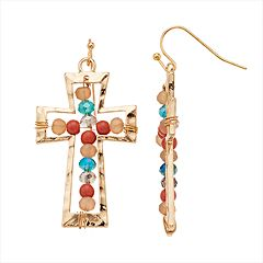 Believe In Beaded Nickel Free Cross Drop Earrings