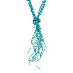 Simulated Turquoise Seed Bead Long Tassel Necklace