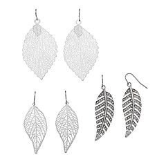 Mudd® Feather Nickel Free Drop Earring Set