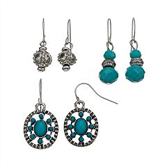 Nickel Free Simulated Turquoise & Textured Bead Drop Earring Set