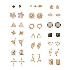 Mudd® Eiffel Tower, Horseshoe & Hummingbird Stud Earring Set