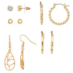 5-pair Gold Tone Earring Set