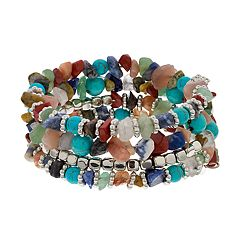 Silver Tone & Simulated Turquoise Bead Nickel Free Coil Bracelet