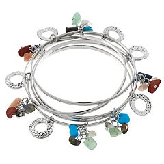 Silver Tone Simulated Stone Nickel Free Charm Bangle Bracelet