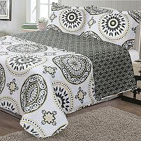 Journee Home Printed 3 pc Reversible Quilt Set