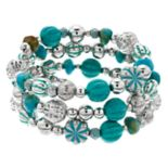 Aqua & Silver Tone Bead Coil Bracelet