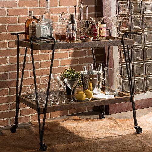 Baxton Studio Jessica Wheeled Bar Cart