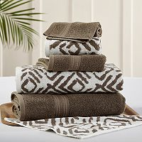 Allure 6-piece Ikat Diamond Reversible Jacquard Bath Towel Set