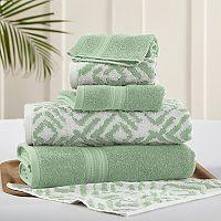 Allure 6 pc Ikat Diamond Reversible Jacquard Bath Towel Set