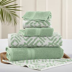 Allure 6-piece Ikat Diamond Reversible Jacquard Bath Towel Set