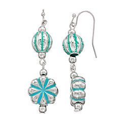 Aqua Textured Starburst Drop Earrings