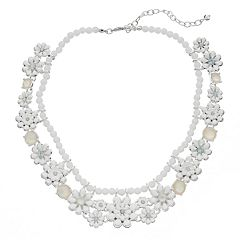 Napier Silver Tone Beaded Flower Collar Necklace