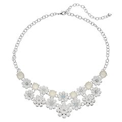 Napier Beaded Silver Tone Flower Collar Necklace