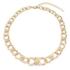 Napier Gold Tone Loop Collar Necklace