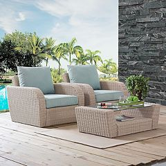 Crosley Furniture St. Augustine Patio Wicker Chair & Coffee Table 3 pc Set