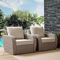 Crosley Furniture St. Augustine Patio Wicker Arm Chair 2 pc Set