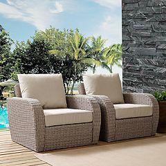 Crosley Furniture St. Augustine Patio Wicker Arm Chair 2 pc Set