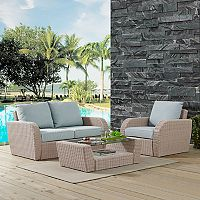 Crosley Furniture St. Augustine Patio Wicker Loveseat, Chair & Coffee Table 3 pc Set