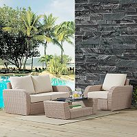 Crosley Furniture St. Augustine Patio Wicker Loveseat, Chair & Coffee Table 3 pc Set