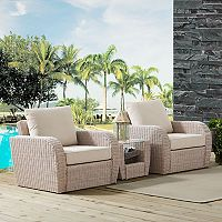 Crosley Furniture St. Augustine Patio Wicker Chair & End Table 3 pc Set