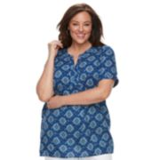 Plus Size Croft & Barrow® Print Popover Top