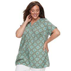 Plus Size Croft & Barrow® Print Popover Top
