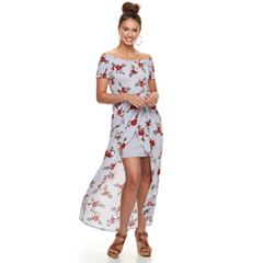 Juniors' Almost Famous Smocked Wrap Maxi Dress
