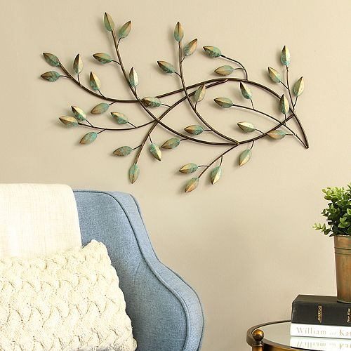 Stratton Home Decor Patina Leaves Wall Decor