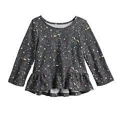 Baby Girl Jumping Beans® Patterned High-Low Ruffle Sleeve Tee