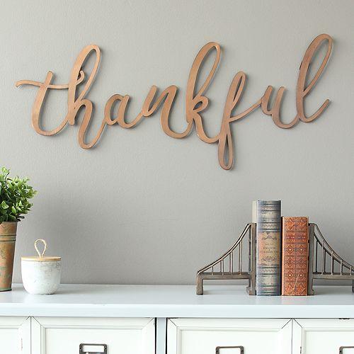 "Stratton Home Decor ""Thankful"" Metal Wall Decor"