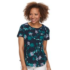 Petite Croft & Barrow® Textured Floral Scoopneck Tee